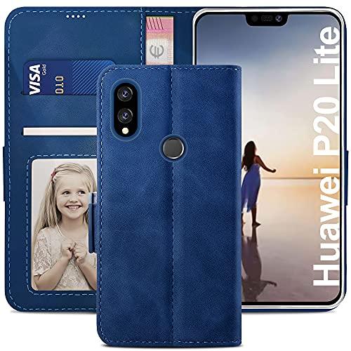 YATWIN Cover Compatibile con Huawei P20 Lite, Flip Custodia Portafoglio in Pelle Premium Slot, Interno TPU Antiurto, Supporto Stand, Stile Libro e Chiusura Magnetica per Huawei P20 Lite - Blu