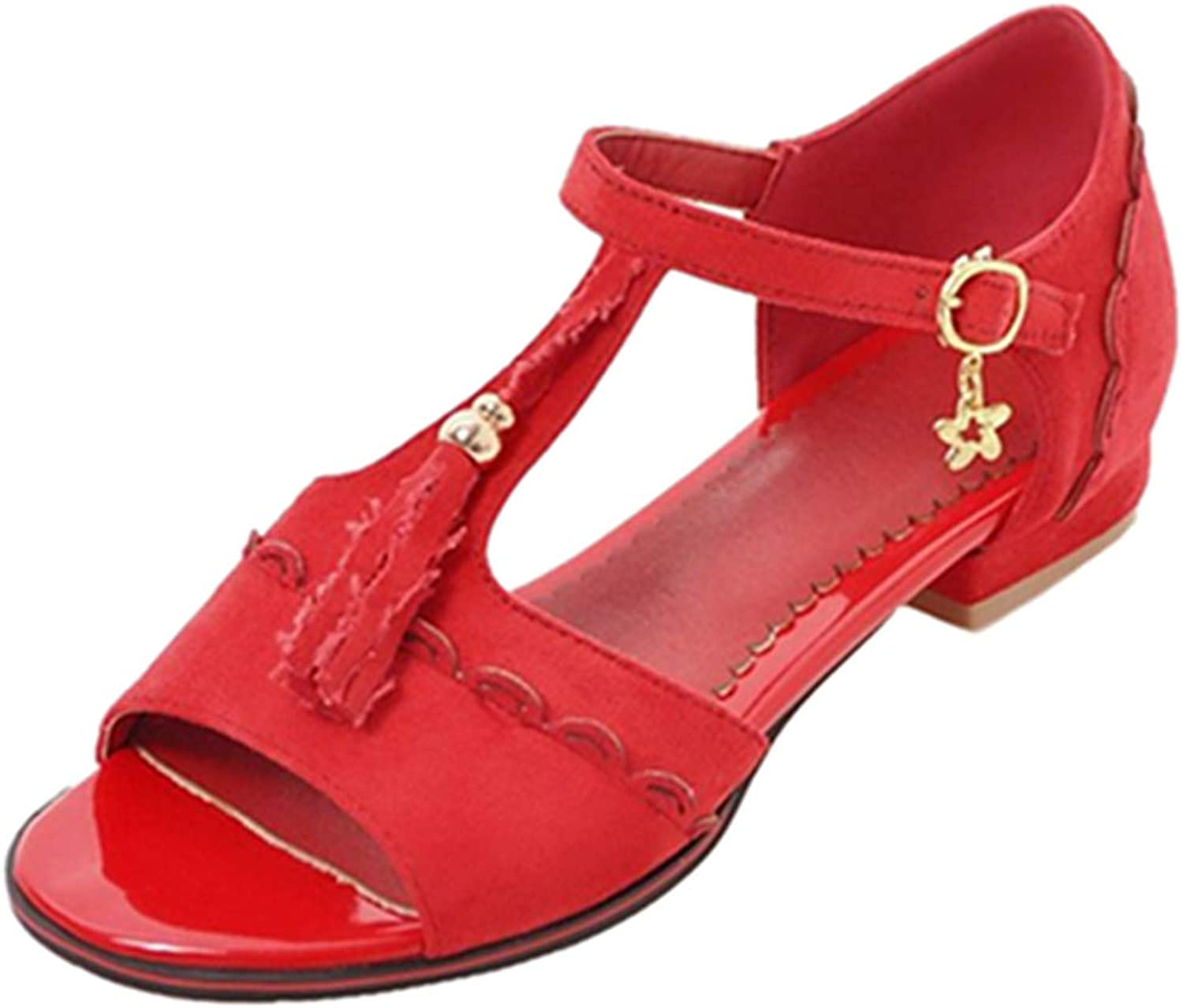 Lashoes Women Sandals with Low Heel and Peep Toe