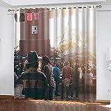 ASNIVI Niñas Curtains Pueblo Calle Sol Bullicio 234 X 183 cm Cortina Opaca Aisladas Térmicamente, para Ventana Niños, Adolescentes, Cortinas De Ventana para Recámara,Sala De Estar, Cortinas Opacas