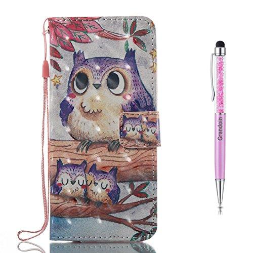 Galaxy A5 2017 Hülle,Grandoin Handyhülle im Brieftasche-Stil für Samsung Galaxy A5 2017 Handytasche PU Leder Flip Cover 3D Bunte Muster Book Case Schutzhülle Etui Case (Eule)