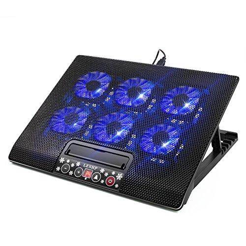 Basi di Raffreddamento per Laptop, Base Sistema Ventola di Raffreddamento per Portatili e Notebook 12-17 Ultra Leggero con 2 Porte USB, 6 Ventola Silenzioso con LED Display Velocità