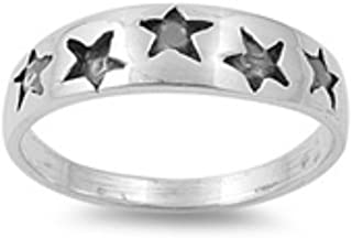 California Toe Ring Women's Sterling Silver Clear Cz Star Baby Children Pinky Toe Ring