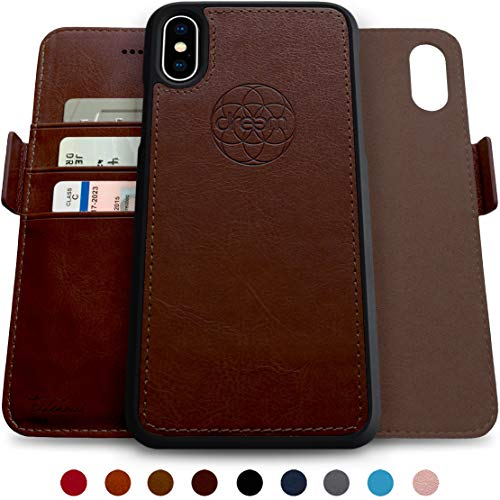 Dreem Fibonacci 2-in-1 Wallet-Case for iPhone X & Xs, Magnetic Detachable Shock-Proof TPU Slim-Case, Wireless Charging OK, RFID Protection, 2-Way Stand, Luxury Vegan Leather, Gift-Box - Coffee