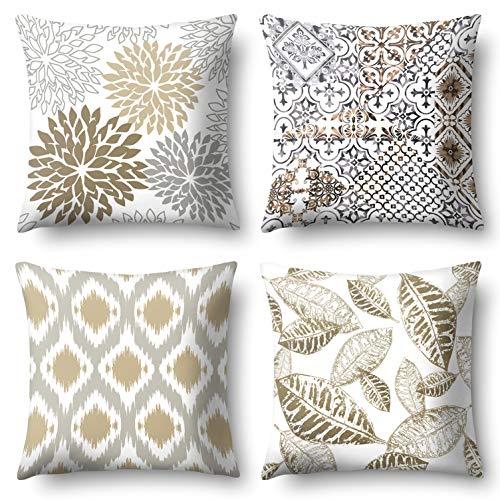 J-MOOSE - 4 federe per cuscino decorativo in lino e lino, motivo floreale, 45 x 45 cm (geometria e foglia)
