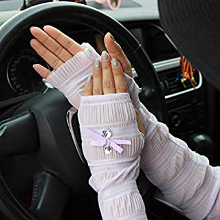 Summer Lady Lace Silk Gloves Printed Long Sleeves Anti-UV Sun Fingerless Arm Multicolor - Light Purple