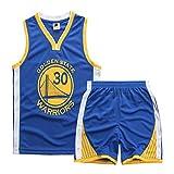 Camiseta De Baloncesto Para NiñOs, NiñAs Y NiñOs Nba Golden State Warriors 30# Stephen Curry Malla Camiseta De Baloncesto Transpirable Chaleco Top Pantalones Cortos De Verano Conjunto De Camiseta