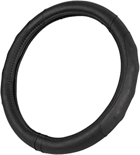GripDrive Pro Synthetic Leather Auto Car Steering Wheel Cover Black Comfort Grip - Small 13.5 to 14.5 inch