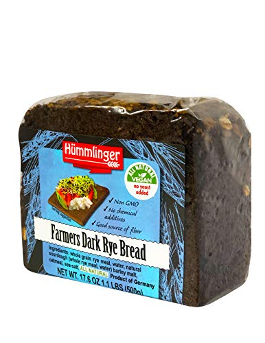 Farmers Dark Rye Bread Yeast Free Hummlinger, No Yeast Added 17.6 oz (6 packages)
