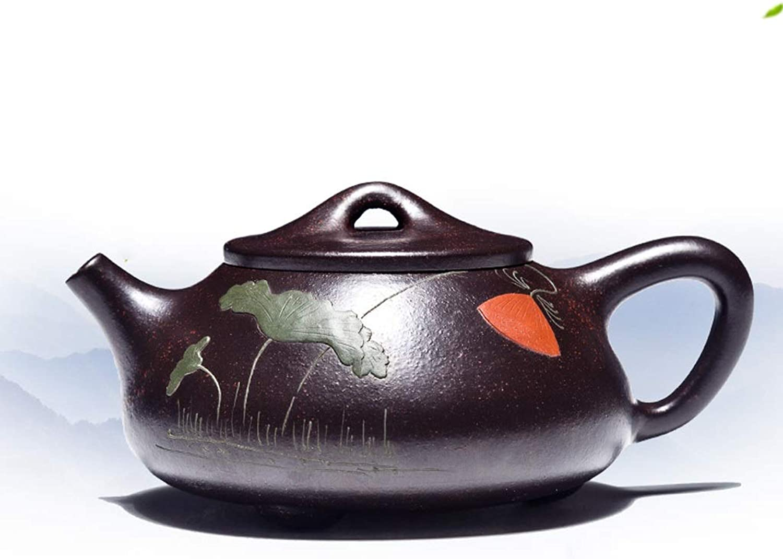 Service à thé HJCA Céramique Matériel Pourpre Pot De Sable à La Main Antique Santé à La Maison Kung Fu Théière Thé Ensemble Cadeaux Pratiques Respirants (calibre 5.9CM  Longueur 13CM  Haut 6CM) Théi