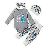 Cuteelf Infant Langarm Weihnachten Wright Strampler Hosen Hut Schal Kostüm Kinder Brief Drucken Pocket Top + Cartoon Pants + Hut + Haarband Set vierteilig