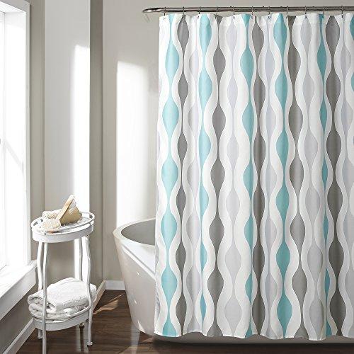 "Lush Decor Mid Century Geo Shower Curtain, 72"" x 72"", Blue & Gray"