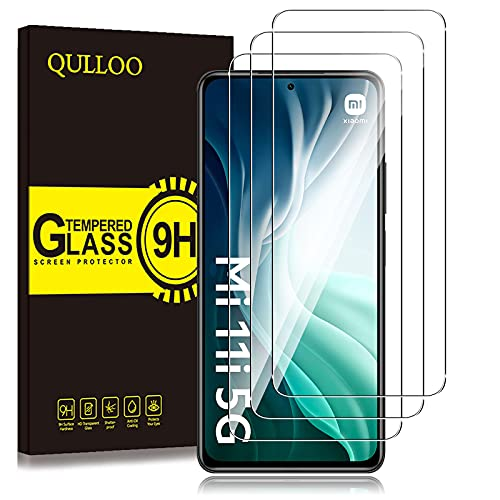 QULLOO Protector de Pantalla para Xiaomi Mi 11i 5G,3 Pack Cristal Templado [9H Dureza] [Anti-Huella] HD Film Cristal Templado para Xiaomi Mi 11i 5G