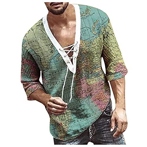 EVAEVA Camisa para Hombre Camiseta de Verano Mangas Medianas con Cordones Polo con Estampado de Flores Camisetas BáSica Clásica Tops Casual Transpirable T-Shirt Golf Tenis Oficina Trabajo Túnica