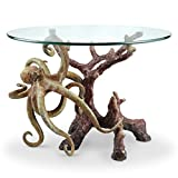 SPI Octopus Glass Top Coffee Table Hand Painted Brass Base
