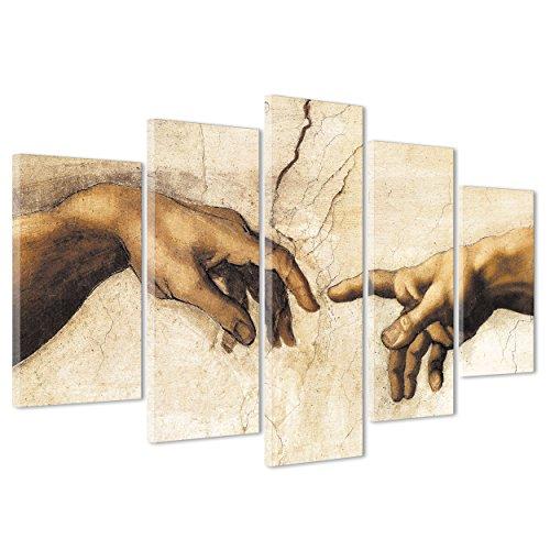 ConKrea Quadro su Tela Canvas - INTELAIATO - Pronto da Appendere - Michelangelo - La Creazione - Cappella Sistina - Museo Vaticano Roma - Arte - 170x86cm (cod.120)