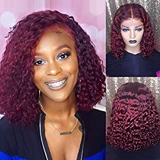 HD Lace Front Wigs Human Hair with Baby Hair Short Bob Wig Pre Plucked Remy Brazilian Curly Transparent Lace Wigs for Black Women Burgundy #99J 10inch