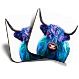 Untersetzer, quadratisch, glänzend, für jeden Tisch, Design'Pop Art Highland Cow Animal', Blau, 2 Stück