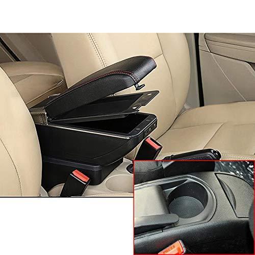 Para 2008-2011 C itroen C4 Avanzado Auto Apoyabrazos Consola Central Reposabrazos Accesorios Con función de carga 7 puertos USB Doble espacio de almacenamiento Negro