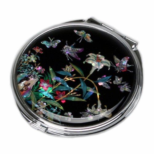 Mother of Pearl Lily Flower Design Black Compact Cosmetic Double Makeup Pocket Round Mirror, 3.2 Ounce by Antique Alive