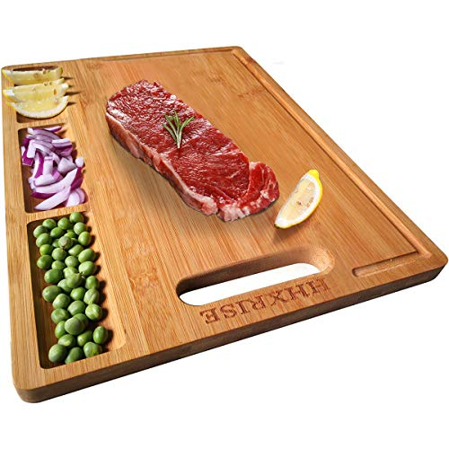 HHXRISE Organic Bamboo Cutting Board For Kitchen With 3 Built-In Compartments And Juice Grooves Chopping Board For Meats Bread Fruits Butcher Block Carving Board BPA Free M-152x105