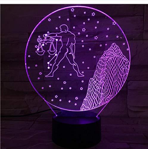 Westelijke sterrenbeeld-nachtlampje, led-aanraaksensor, meerdere kleuren, voor kinderen, baby's, nachtlampje, weegschaal, tafellamp, bureau, afstandsbediening, bluetooth-besturingskleur