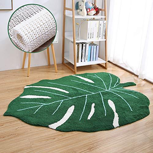 HM&DX Blatt Teppich Wohnzimmer Baumwolle,modern Dekorative Bodenteppich Mit Anti Rutsch Rückenpolster Waschbar Bettvorleger Wohnzimmer Kinderzimmer Kindergarten Grün 110x150cm(43x59in)