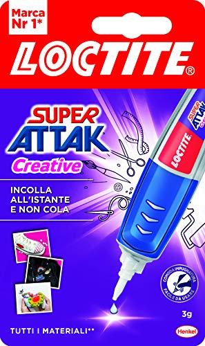 Loctite Super Attak Creative, Colla Resistente con Applicatore a Penna per Applicazioni Facili e Precise, Colla Gel Trasparente per Gomma, Metallo, Pelle, ecc., 1 x 3 g