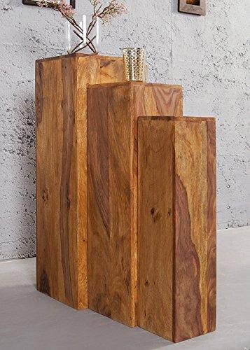 DuNord Design Säule Dekosäule Blumen Podest Jakarta 3er Palisander Massiv Holz Honey