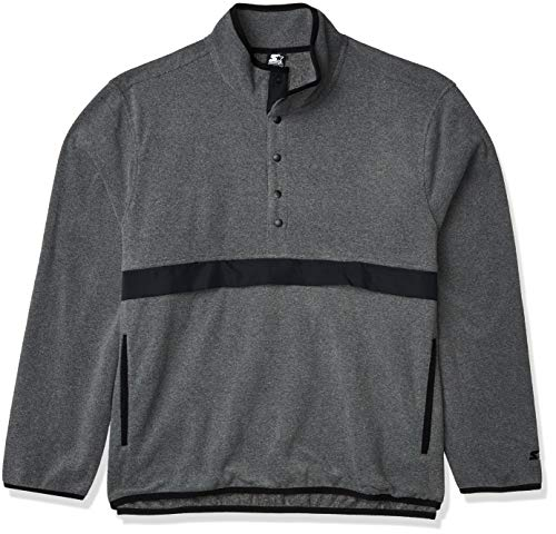 Starter Men's Polar Fleece Snap-Collar Pullover Jacket, Amazon Exclusive, Vapor Grey Heather, XX-Large