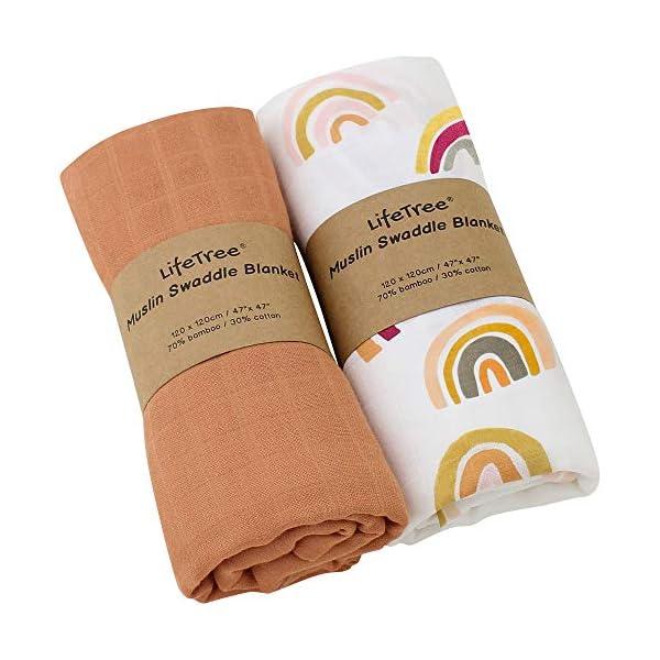LifeTree Mantas de Muselina Bebé, Súper Suave Mantas Envolventes de Muselina, Bambú Algodón 120×120 cm Pack de 2