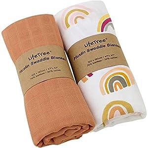 LifeTree Mantas Muselina Bebé, Súper Suave Mantas Envolventes de Muselina, Bambú Algodón Manta Verano Bebe 120x120 cm, Pack de 2