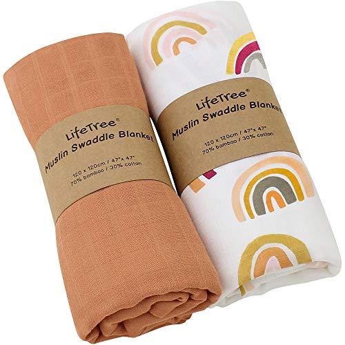 LifeTree Musselin Baby Decke Bambus Baumwolle für Jungen und Mädchen, 2 Stück Pucktücher Kuscheldecke Baby Baumwolldecke 120x120cm, Solide Farbe/Regenbogen Design