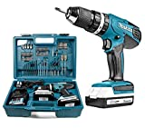 Makita 18 V Cordless Combi Drill, 2 x Batteries, Charger and Accessory Kit, 70 pc.