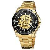 Yoodeet Analogue Quartz Watch Mens Skull Head Automatic Mechanical Wrist Watch (Gold-Luminous)