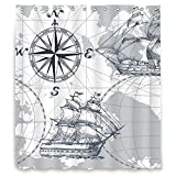 Riyidecor Nautical Sailboat Map Shower Curtain Panel Grey Boat Sketch Ship Wheel Compass Anchor Decor Fabric Set Polyester Waterproof Fabric 72Wx96H Inch 12 Pack Plastic Hooks