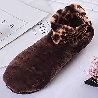 AMYGG, Calcetines Térmicos Antideslizantes para Interiores Otoño Invierno Calcetines de Leopardo para Interiores Calcetines de Doble Capa más Calcetines de Agarre de Terciopelo Hembra Café