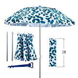 AMMSUN 6.5ft Folded Outdoor Beach Umbrella with Sand Anchor Tilt Portable Cabana Silver Coating Inside UV Protection for Picnic Stripe Fits in Suitcase