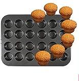 Hicollie Mini Muffinform für 24 Muffins Backblech antihaft für Muffins,Muffin Backform mit Wärmeleitung Antihaftbeschichtet Backblech Backform für Mini Cupcakes, Brownies, Kuchen, Pudding