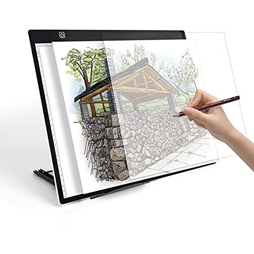 Mesa Luz LED para Dibujo A3 Calco Bocetos Animación Manga Cómic. Luz Regulable Micro USB Portátil Ligero. Alta Resolución. Dos tamaños A3 y A4 (A3)