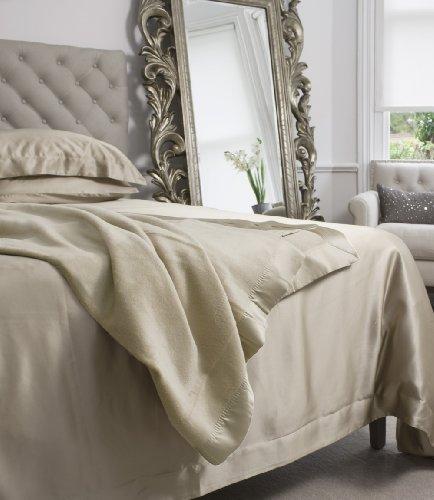 Jasmine Silk Trendige Flauschige Kuscheldecke | | Größe 225 x 240cm | Reine Seide| | Wohn & Tagesdecke- Taupe
