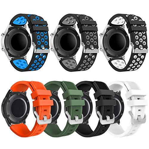 kytuwy Armband Kompatibel für Galaxy Watch 3 45mm, Smartwatch Ersatzarmbänder 22mm Silikon Sport Uhrenarmband mit Galaxy Watch 46mm /Gear S3 Classic/Gear S3 Frontier Smart Watch (7 Pack)