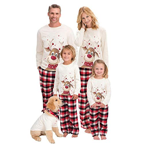 Pyjama Damen Nachthemd Schlafanzug Family Christmas Pyjamas Kleidungsset Family Xmas Adult Kids Pyjamas Set Family Look Passende Kleidung Nachtwäsche 10T Weiß