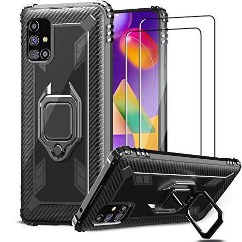 IMBZBK für Samsung Galaxy M31s Hülle + [2 Stück] Samsung Galaxy M31s Panzerglas Schutzfolie, [360 Grad Drehung Fingerring Ständer] [Military Grade Schutz] Silikon weiches TPU-Gehäuse-Schwarz