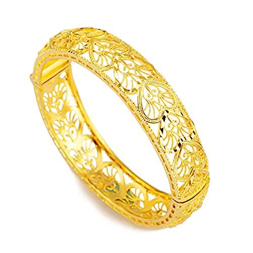 SanSiXing Joyería de Oro de la Arena, Pulsera de la Moneda de Arena chapada en Oro, Brazalete de Las Mujeres Huecas para la brochilla Retro Pulsera de la Flor de la Flor (Hollow)