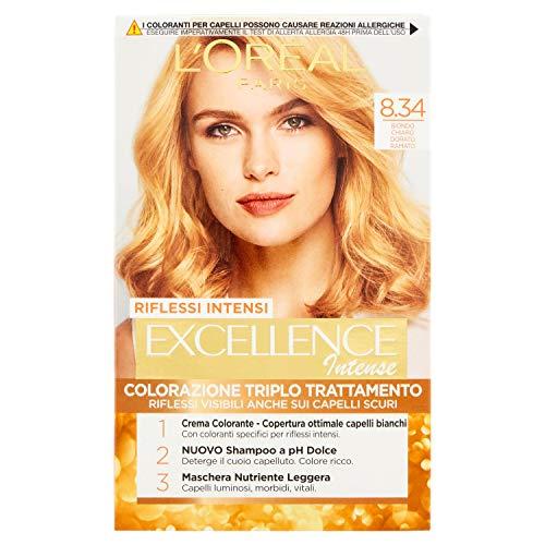 L'Oréal Paris Excellence Creme, tinte colorante con triple tratamiento avanzado, cubre los cabellos blancos 8.34 Biondo Chiaro Dorato Ramato