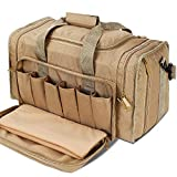 SoarOwl Tactical Gun Range Bag Shooting Duffle Bags for Handguns Pistols with Lockable Zipper and Heavy Duty Antiskid Feet (Tan)