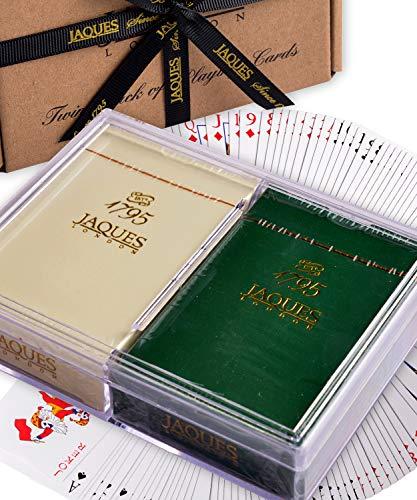 Jaques Naipes de Calidad of London - Baraja de Acabado con Acabado plasti - Juego de Cartas Twin Pack con Estuche de plástico Resistente