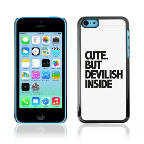CelebrityCase Polycarbonate Hard Back Case Cover for Apple iPhone 5C ( Cute Devil Message )