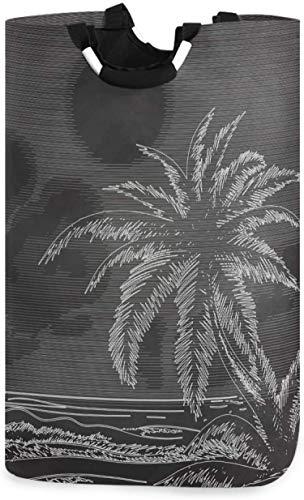 Vintage Palm Tree Ocean Sketch Bolsa de lavandería Cesto de lavandería Cesta de tela Elegante hogar Ropa plegable Bolsa de lavandería con asas