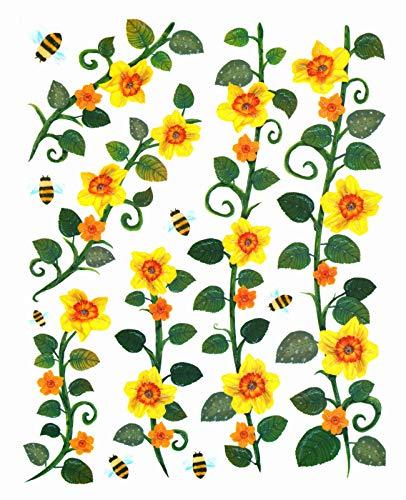 dpr. Fensterbild Set 13-TLG. Blumen Ranke Narzissen Osterglocken Hummeln Fenstersticker Fensterdeko